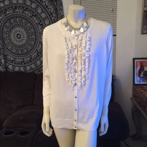 Talbots White Ruffled Front Button Up Sweater 1X